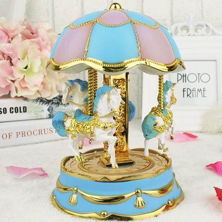 Tuscom New Octave Light Carousel Music Box Christmas Birthday Gift Carousel Music Box