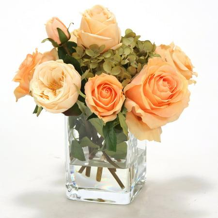 Distinctive Designs Waterlook Silk Roses in Square Glass Vase ()