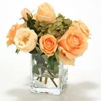 Distinctive Designs Waterlook Silk Roses in Square Glass Vase