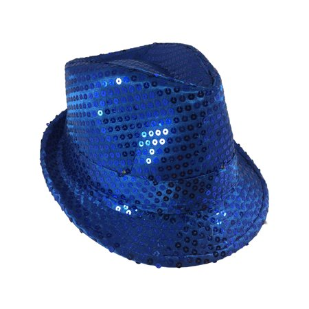 Adults Navy Blue Light Up Sequin Gangster Fedora Hat Costume Accessory - Sequin Fedora