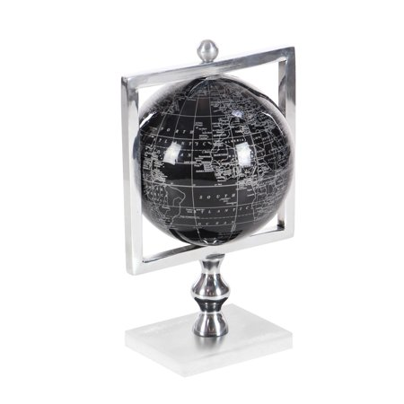 Decmode Glam 12 inch chic aluminum, marble and PVC globe, (Aluminum Glove Box Cover)