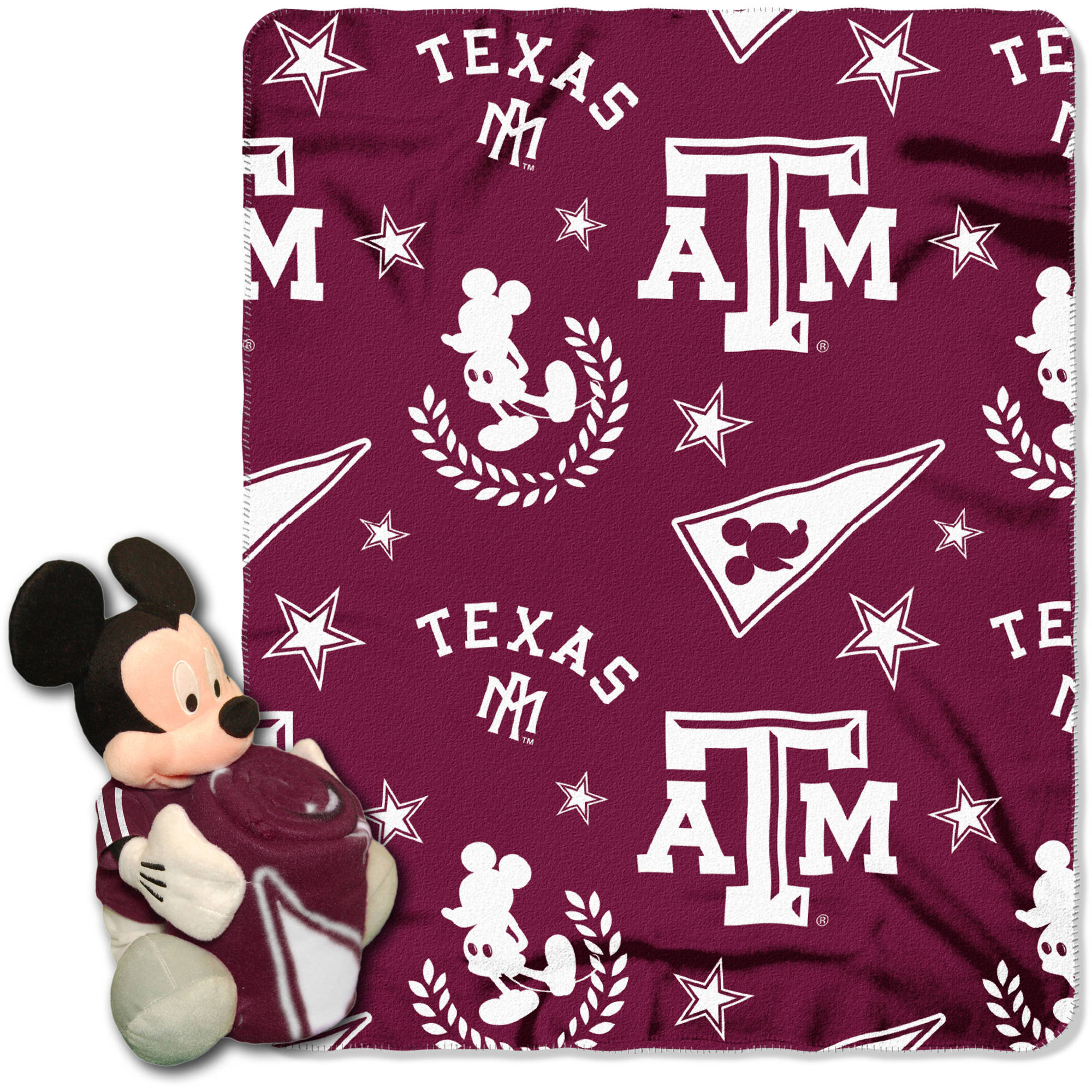 "Official NCAA and Disney Cobrand Texas A&M Aggies Mickey Mouse Hugger Character Shaped Pillow and 40""x 50"" Fleece Throw Set"