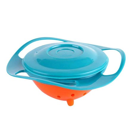 Cluxwal Baby Bowl Children Tableware Non Spill Bowl Toy Dishes Universal 360 Rotate Avoid Spilling Bowl Lunch Box with Lid For Toddler Baby Kids