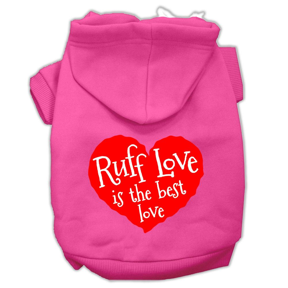 mirage 62-118 smbpk ruff love screen print pet hoodie bright pink - size sm