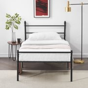 Metal Steel Slat Platform Bed Frame,Easy-Assembly with Under-Bed Storage W Headboard Twin Size