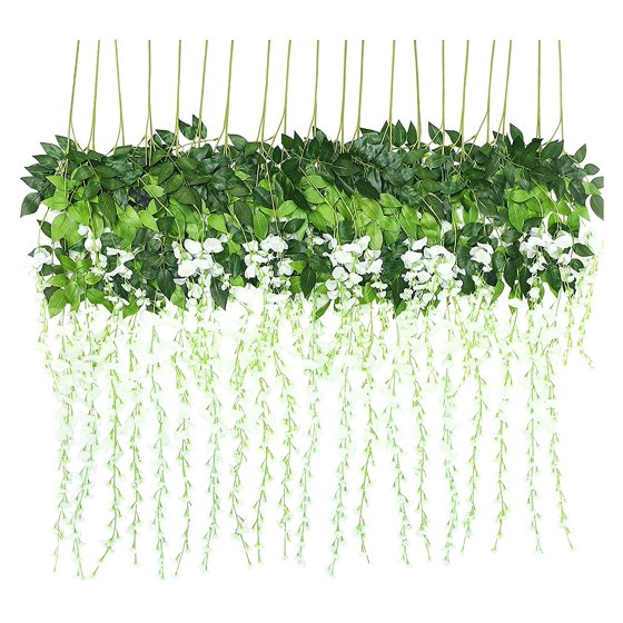b98807a2e6a 6 Piece /12 Piece 3.6 Feet Artificial Fake Wisteria Vine Rattan, Hanging  Silk Flowers String for Home Party, Yard and Wedding