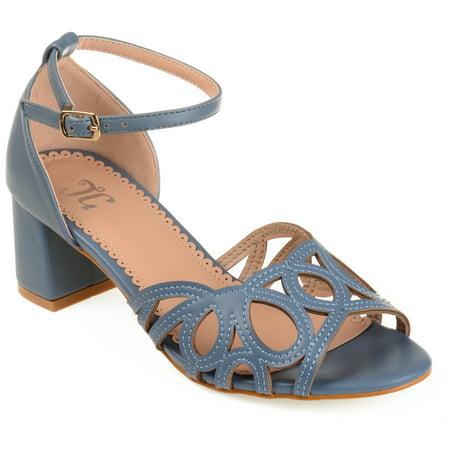 Womens Faux Leather Ankle Strap Open-toe Heels