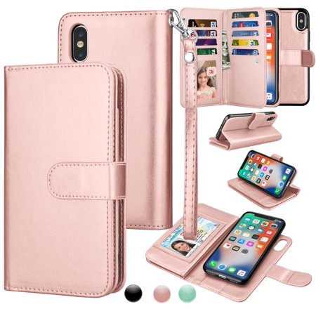 Max Leather (iPhone Xs Max Case, Wallet Case iPhone Xs Max, iPhone Xs Max Pu Leather Case, Njjex Pu Leather Magnet Stand Wallet Credit Card Holder Flip Cover 9 Card Slots Case For iPhone Xs Max 6.5