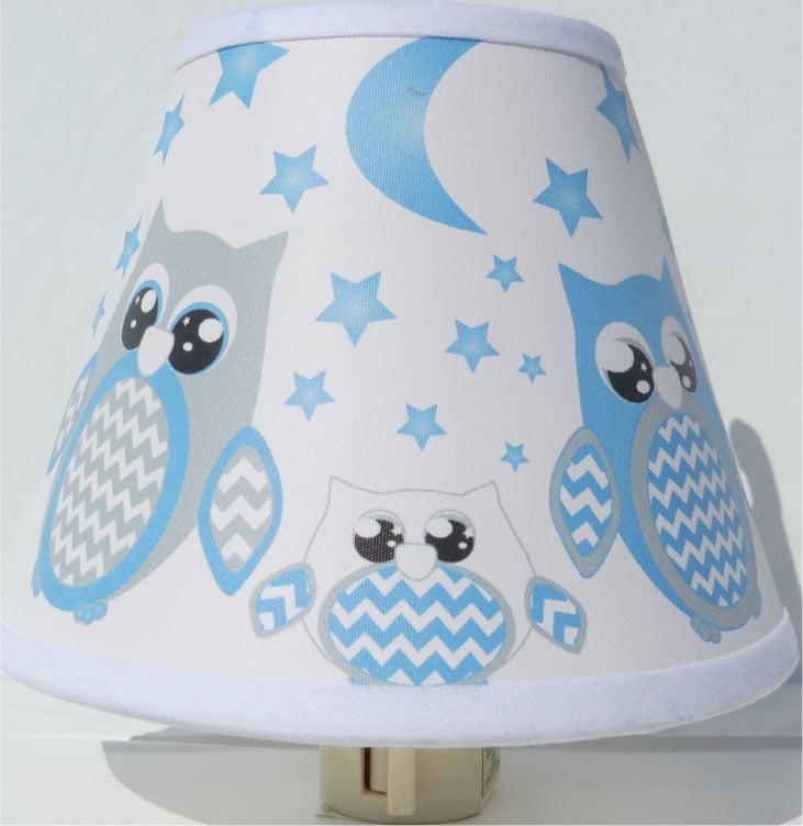 Blue Owl Night Lights / Owl Nursery Decor with Stars and Moons