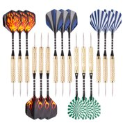 15 Pack Steel Tip Darts 18 Grams with Aluminum Shafts and Brass Barrels