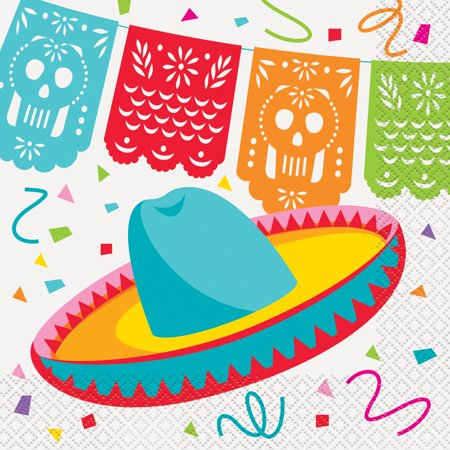 Mexican Fiesta Paper Luncheon Napkins, 6.5 in, 16ct