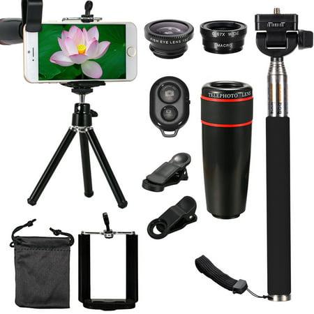 10in1 Phone Camera Lens Spring Travel Kit 12X / 8X Telescope+Fisheye+Wide Angle+Macro Telephoto Lens with Mini Tripod & Selfie Stick Monopod For Smart Mobile (Non Camera Phone)