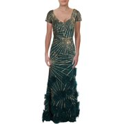 Aidan Mattox Womens Sequined Beaded Formal Dress Green 4