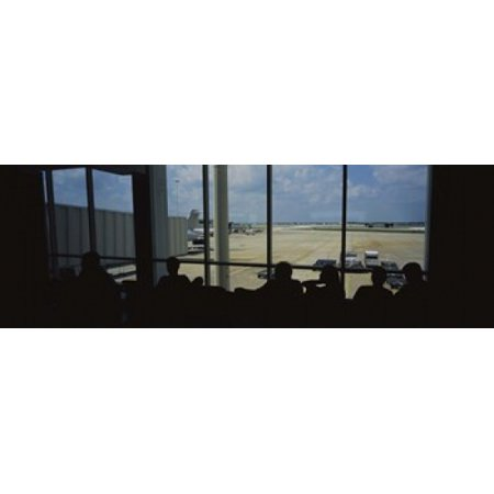 Silhouette of a group of people at an airport lounge Orlando International Airport Orlando Florida USA Canvas Art - Panoramic Images (18 x (Airports In Orlando Florida)