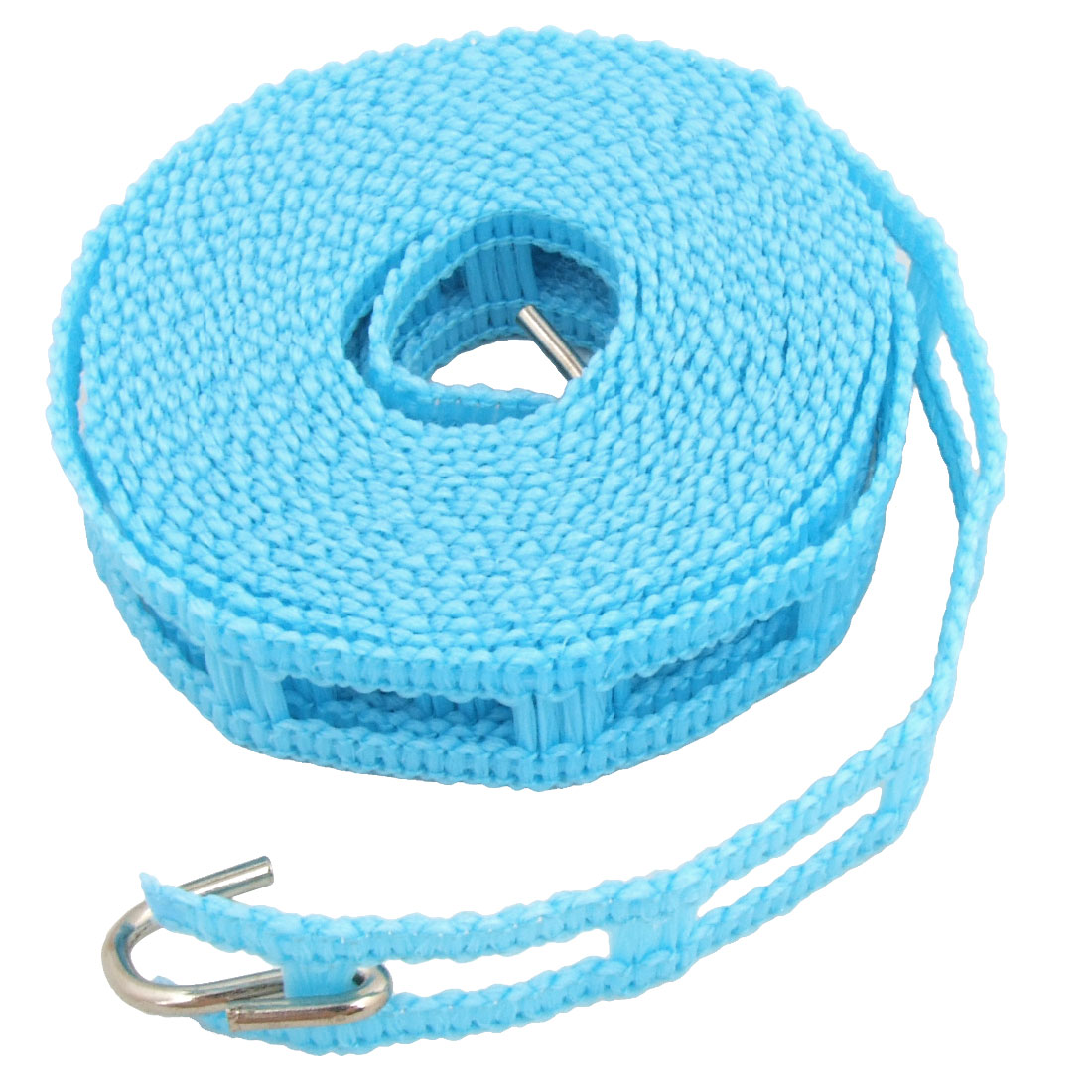 11.5Ft Plastic Household Windproof Nonslip Hanging Clothing Clothesline Rope w Hooks Blue