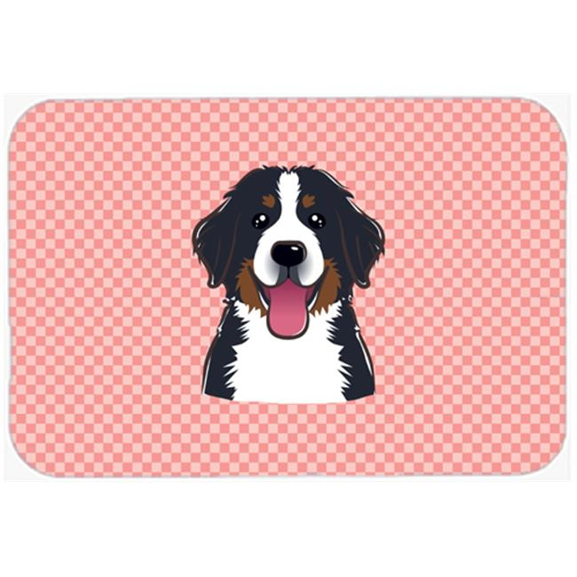 Checkerboard Blue Bernese Mountain Dog Mouse Pad, Hot Pad Or Trivet, 7.75 x 9.25 In.