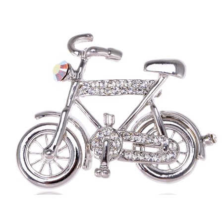 US Stylish Rhinestone Silver Tone Bicycle Park Dark Bike Girl Cute Pin Brooch