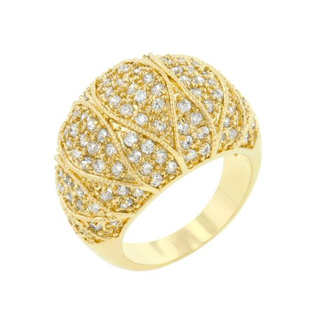 Clear Crystal Cocktail Ring - J Goodin Goldeneye Clear Cubic Zirconia Cocktail Ring Size 6