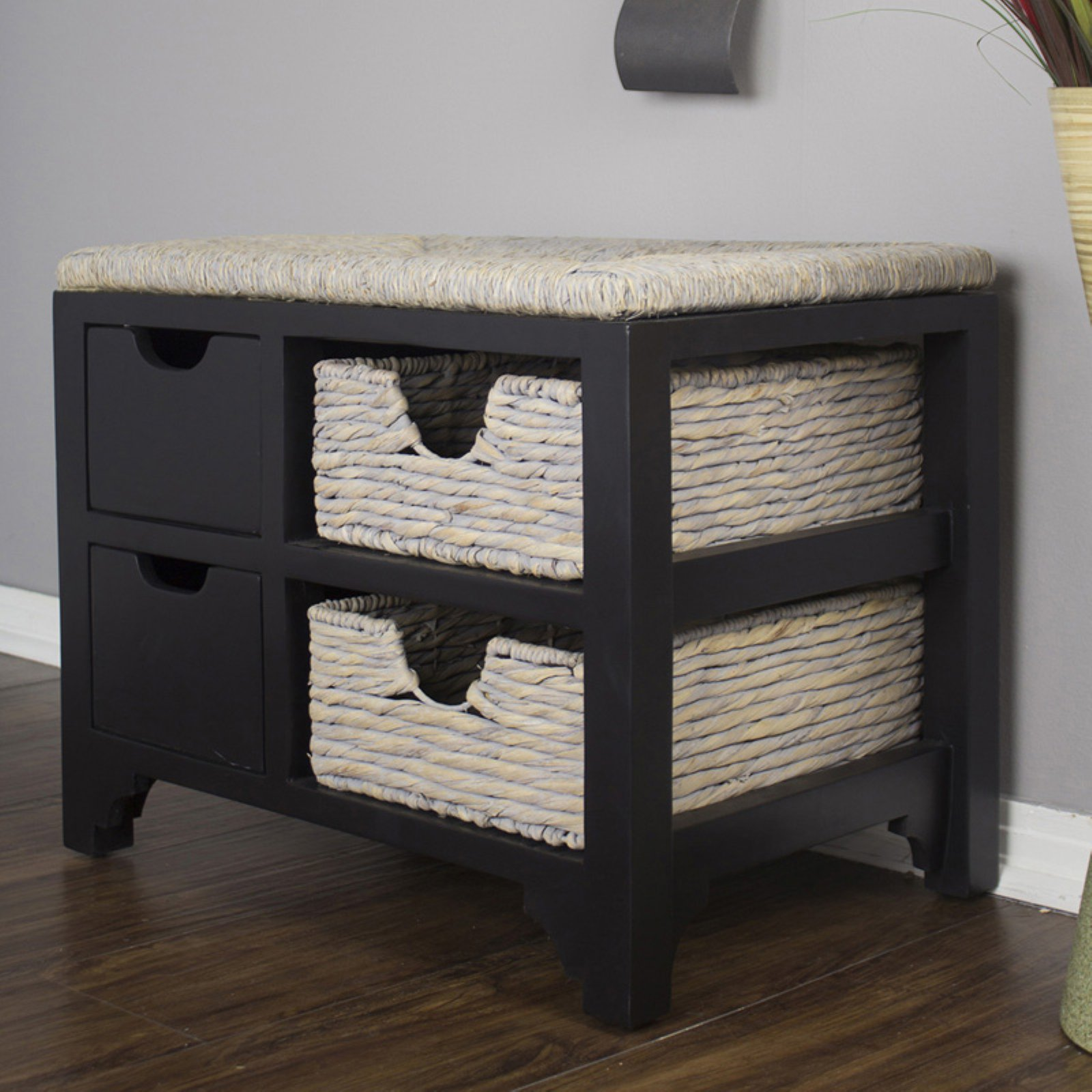 Heather Ann Creations Vale Seagrass Top 2 Drawer 2 Basket Storage Bench