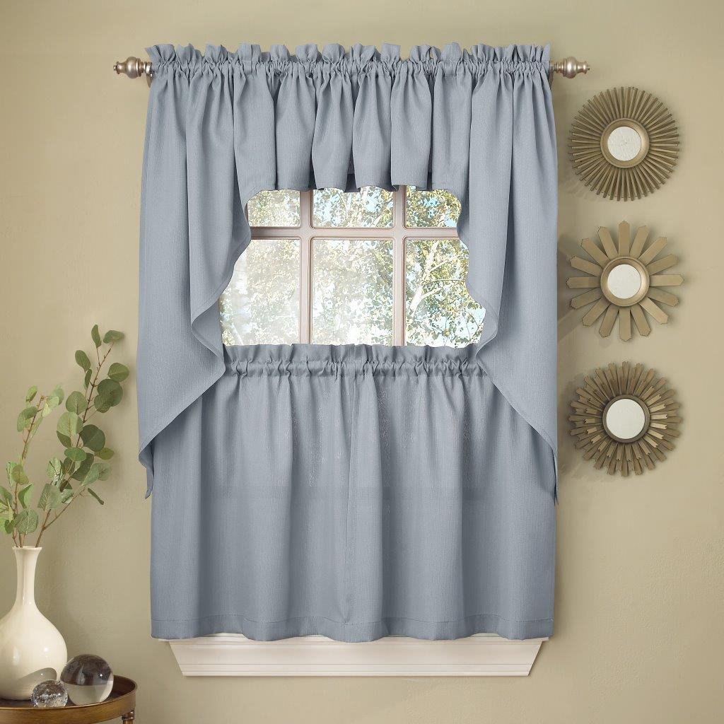 Light Blue Opaque Solid Ribcord Kitchen Curtains Choice of Tier ...