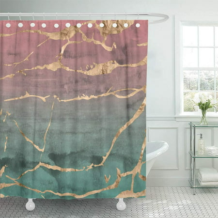 PKNMT Sliced Marble with Rose Gold Overlaid on Pink and Green Hand Ombre Watercolor Waterproof Bathroom Shower Curtains Set 66x72 inch ()