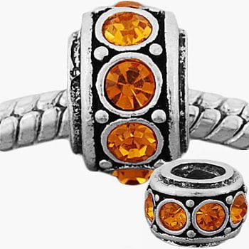 November Birthstone Cintrine Rhinestone Charm Bead. Fits Troll, Zable, Baigi, Chamilia Charm Bracelets.