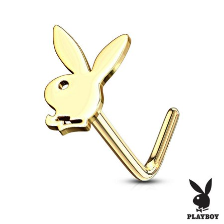 Aquamarine Gold Nose Ring - Nose L Bend Stud Rings with Playboy Bunny Top Surgical Steel 20g