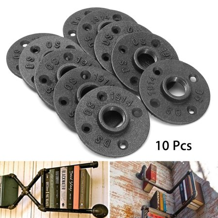 10Pcs 3/4'' Black Malleable Threaded Floor Flange Iron Pipe Fittings Wall Mount Malleable Floor Flange