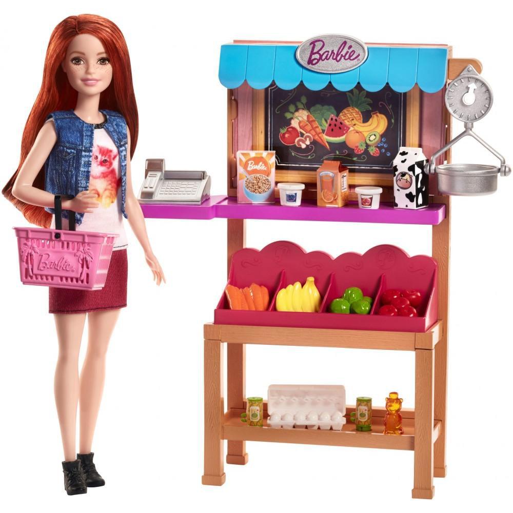 Barbie Careers Grocery Supermarket Register Food Stand Playset
