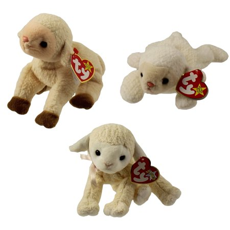 3 Ty Beanie Baby Card (TY Beanie Babies - LAMBS (Set of 3)(Ewey, Fleece & Fleecie)(5.5-7.5)
