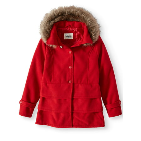 Sebby Ruffled Hem Wool Blend Coat with Fur Trim Detachable Hood (Little Girls & Big (Printed Wool Blend)