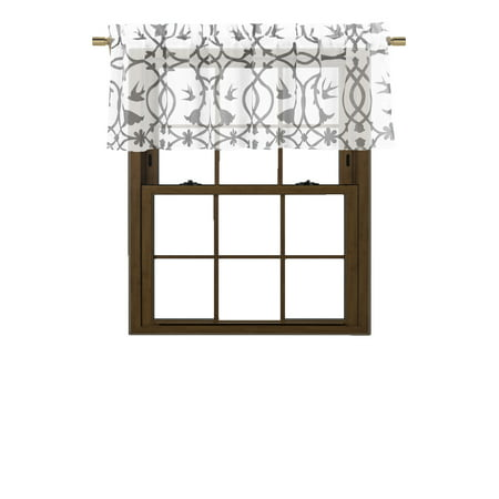 Vine Single (Bathroom and More Collection SHEER White Window Curtain Valance: Gray Bird, Flower & Vine Design: Single (1) 56