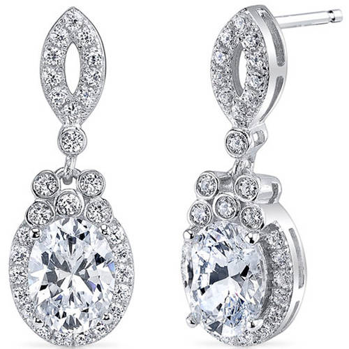 Oravo 2.11 Carat T.G.W. Oval-Cut Cubic Zirconia Rhodium over Sterling Silver Drop Earrings