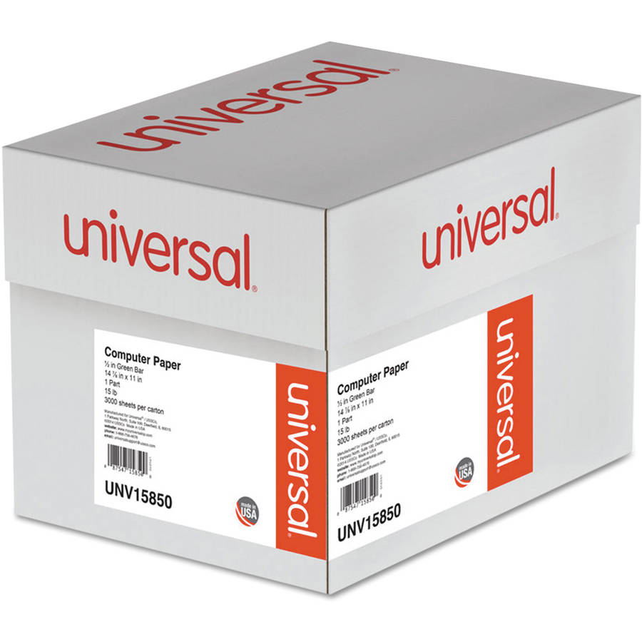 "Universal Green Bar Computer Paper, 15lb, 14-7/8"" x 11"", Perforated Margins, 3000 Sheets"