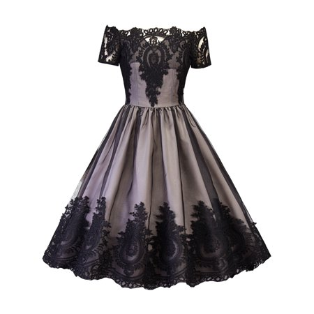 Women Vintage Dress Off Shoulder 50s 60s Mesh Lace Crochet Floral Rockabilly Evening Cocktail Party Retro Swing - Retro Cocktail Dresses