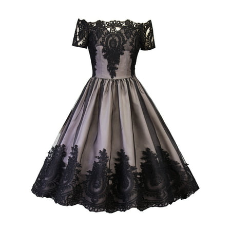 Women Vintage Dress Off Shoulder 50s 60s Mesh Lace Crochet Floral Rockabilly Evening Cocktail Party Retro Swing Dresses