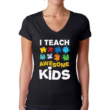 Awkward Styles Women's Autism Awareness Puzzle V-neck T-shirt I Teach Awesome Kids
