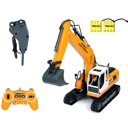 Excavator Tractor Toy (DoubleE RC Excavator Tractor Toy Construction Vehicles 17 Channel Truck Deluxe Package with Metal Shovel and Breaker)