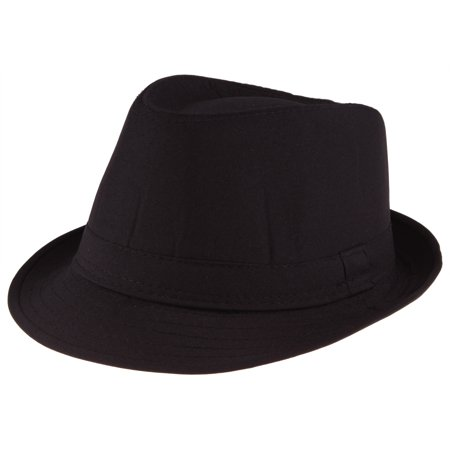 Enimay Men's Women's Classic Manhattan Structured Fedora Hat Plain Black Size - Red And Black Fedora Hat