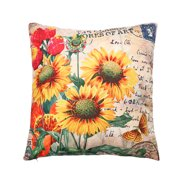 18'' Square Home Cotton Linen Hidden Zip Car Office Cafe Sofa Bed Decor Waist Comfortable Cushion Pillow Case Cover