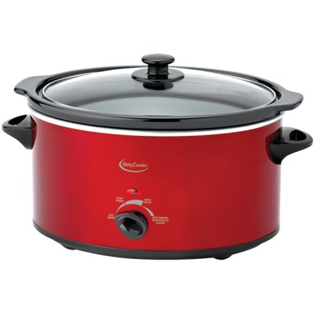 Betty Crocker 3.5L Oval Slow Cooker with Travel Bag, Metallic Red