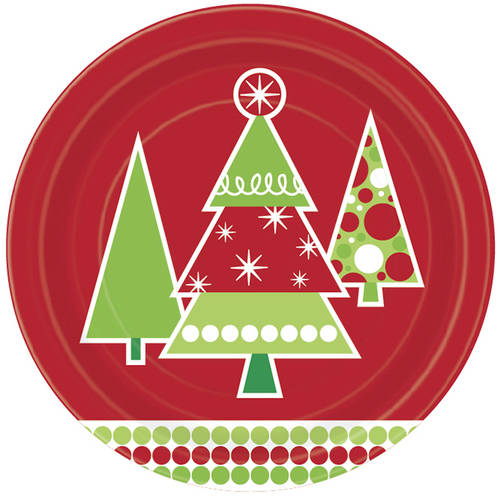 "9"" Polka Dot Tree Christmas Party Plates, 8-Count"