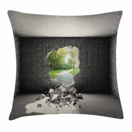 Grey Throw Pillow Cushion Cover, Concrete Room with Hole in Wall and Exit to Freedom Escape Destruction Salvation, Decorative Square Accent Pillow Case, 16 X 16 Inches, Grey and Green, by (16 X 16 X 4 Concrete Pads)