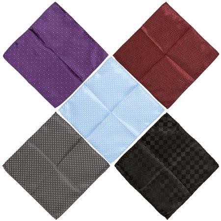 BMC Mens 5 pc Mixed Pattern Design Fabric Handkerchief Fashion Pocket Squares