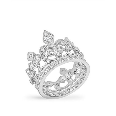 Rhodium Plated Crown Style Eternity Ring Featuring Milgrain Accents & Pave Round Cut Clear CZ Size 11 (Cute Rings Size 11)
