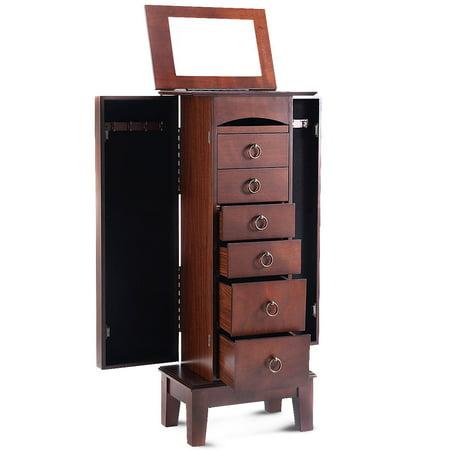 "GHP 10.5""x16""x40"" Walnut MDF Free Standing 6 Drawers & 2 Side Doors Jewelry Cabinet"
