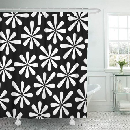 XDDJA Black and White Seamless from Flower Can Be Repeated Scaled Shower Curtain 60x72 inch - image 1 de 1