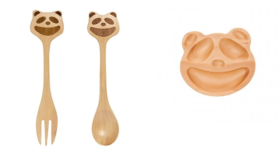 Petits Et Maman Kids' Wood Plate Fork and Spoon, Panda by Ganz