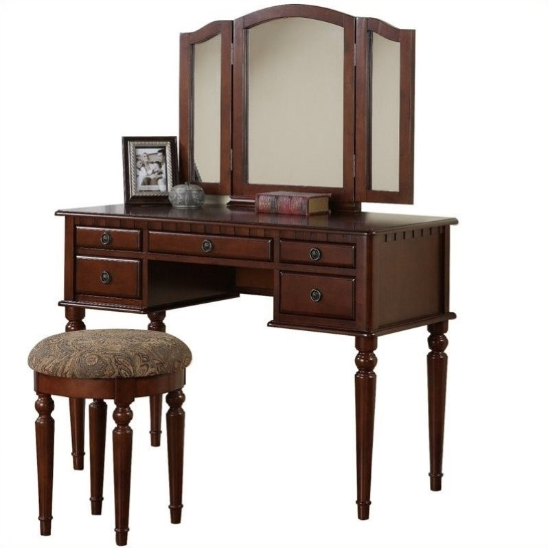 Bobkona St. Croix 3 Fold Mirror Vantiy Table with Stool Set in Cherry