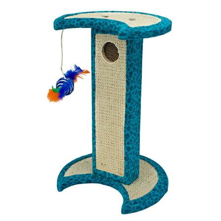 Penn-Plax - Blue Crescent Leopard Cat Scratching Tower w/Corrugated Reful ()